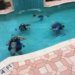 Capt. Sandy providing pool training for Open Water Dive Certification.