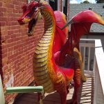 The dragon on the back patio.