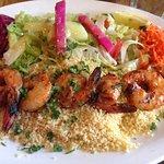 Grilled spicy prawns at Hummus