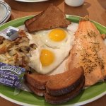 Rainbow trout and eggs: surprisedly, fish coming to breakfast meal, very yummy.