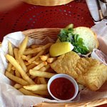 Fish sandwich with fries