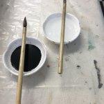 Tools for Suminagashi fabric marbling