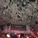 Dollar bills decorate the ceiling. Fun place to eat.