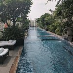 The hotel pool is a perfect getaway from the city feeling