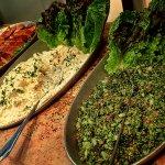 Smoked fish, hummus and salad