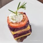 Grilled Beet Napoleon: Tomatoes, Ruby Red Beet, Grilled Polenta topped with Goat Cheese