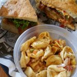 The BLT with a side of pasta salad.