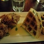 "Cauliflower ""chicken"" and waffles"