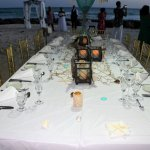 Wedding dinner set up on the beach