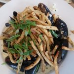 Steamed mussels and garlic fries
