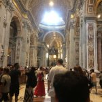 Inside St Peter's Basilica, one of the last stops on the tour