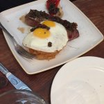 Sunday brunch, banana bread, swine burger, steak and eggs and pulled pork over cheddar jalapeño