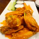 chicken wings with blue cheese and ranch dips