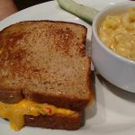 Pimento cheese sandwich with excellent Mac & Cheese.