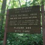 Devils Lake trail notice.