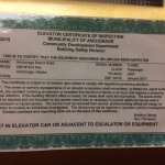 EXPIRED Certificate of ELEVATOR INSPECTION