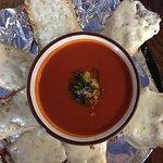 Tomato bisque soup & cheesy garlic bread.