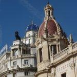 Detail from the Generali and Ayuntamiento buildings at Plaza Ayuntamiento