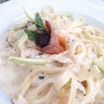Salmon pasta (don't remember exactly)