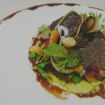 Wagyu beef cheeks w/ seasonal winter veg, burnt leek puree Canadian scallops, confit chorion, ra