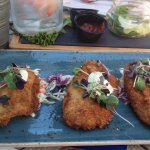 Pan fried panko crusted Fanny Bay oysters
