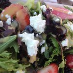 Barnston Island salad with fresh berries and goat cheese
