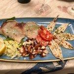 Polpo, alici e pesce marinato – Boiled octopus, anchovies and marinated fish