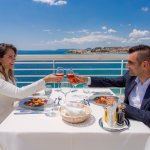 Lunch on the terrace with islands sea view