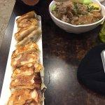 Pork and chive dumplings. Duck noodle soup