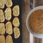 Delicious Vegetable soup with garlic baguette.