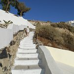 Some of the 120 steps up to the village.