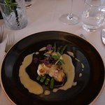 Monkfish on a bed of asparagus