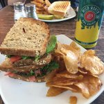 Bacon, avocado, lettuce, tomato sandwich with home made chips and local craft beer.