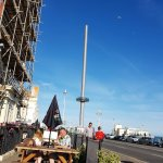 Outside the hotel, view of British Airways i360.The scaffolding was unfortunate but will come do