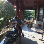 cookie hour on the porch - with a guest who brought his guitar
