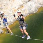Crossing the ravine on the rope bridge