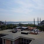 Probably one of the best views of the European side of istanbul. 9 stories high on the rooftop