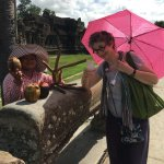 Amazing elephant ride around Bayon temple inside Angkor Thom city.