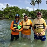Bob with Barefoot Travelers with clients on Monkey Island and Kayak Tour