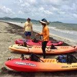 Bob with Barefoot Travelers Kayak Tour to Monkey Island getting the kayaks ready.