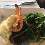 filet topped with shrimp and garlic mashed potatoes