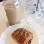 Soy milk latte and savoury pastry with mushrooms