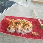 The menus,/ Caribbean roll and spicy tuna