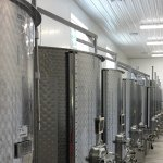 Production: in one cycle, the bottling equiipment comes right into this room to bottle the wine