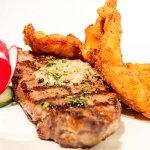 Steak and fried shrimp