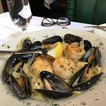 PEI Mussels with Sea Scallops over a fettuccine scampi.