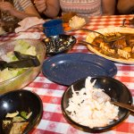 Salad, Coleslaw, chick, pasta, pot roast and gravy.