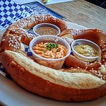 Our giant pretzel appetizer with dips