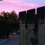 Sunrise over Alnwick castle rooftops