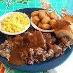 This is the roast beef blue plate special with corn and fried okra